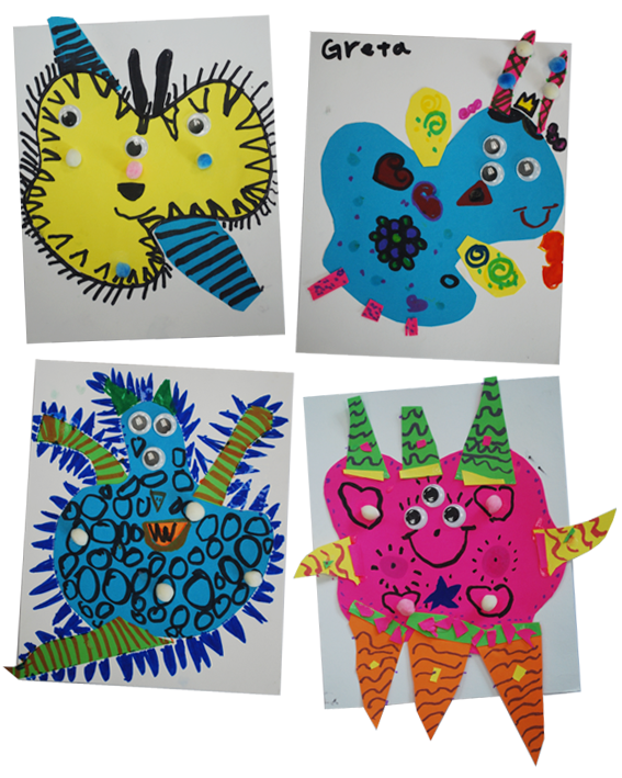 Organic Shape Monsters Kindergarten Art Project