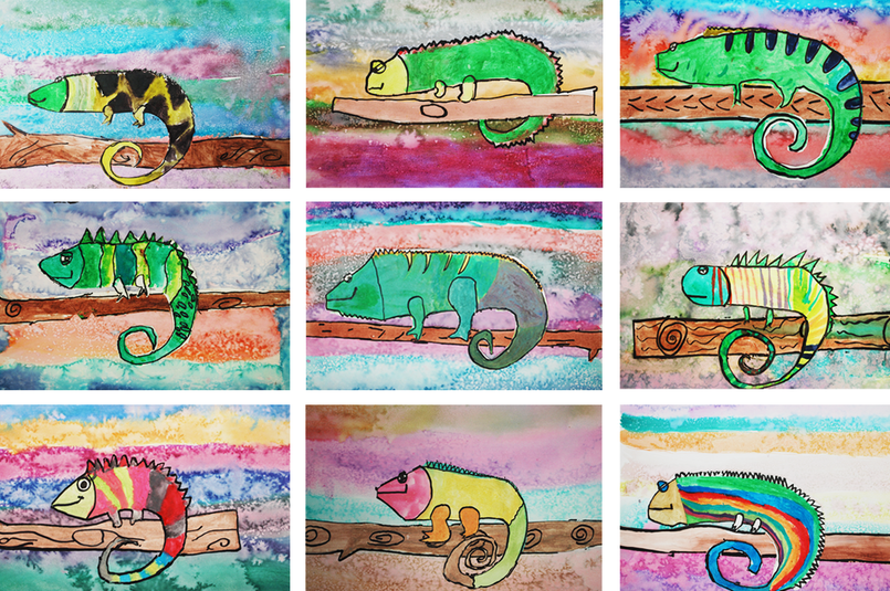 Watercolor Chameleons 1st Grade Art Project
