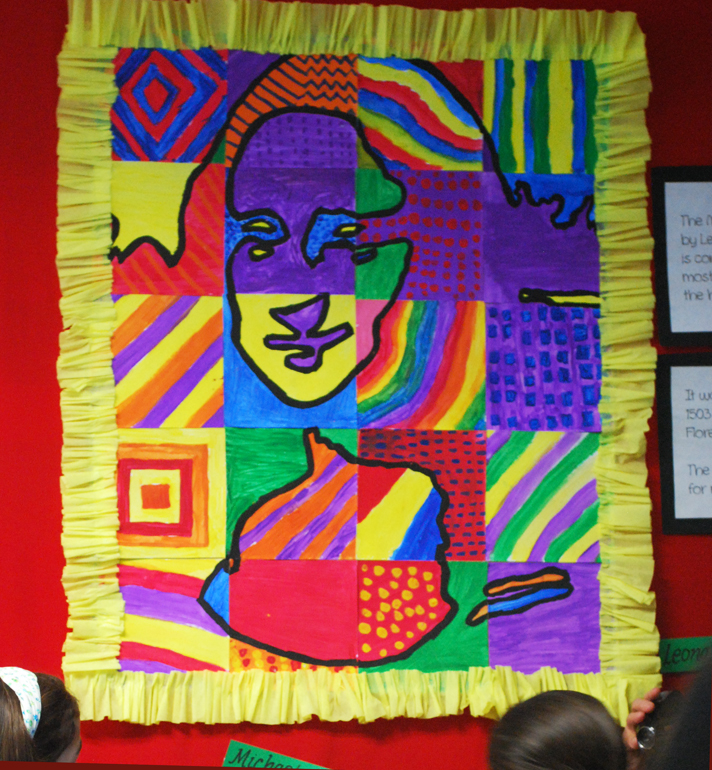 Abstract Pop Art Mona Lisa 3rd Grade Art Project