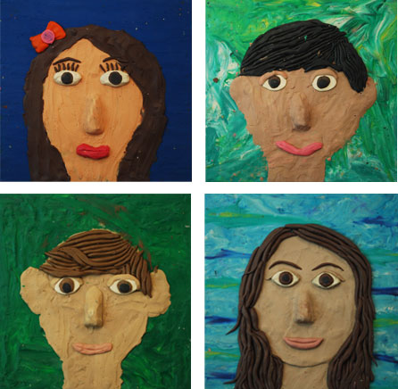 Modeling Clay Self-Portraits 6th Grade Art Project