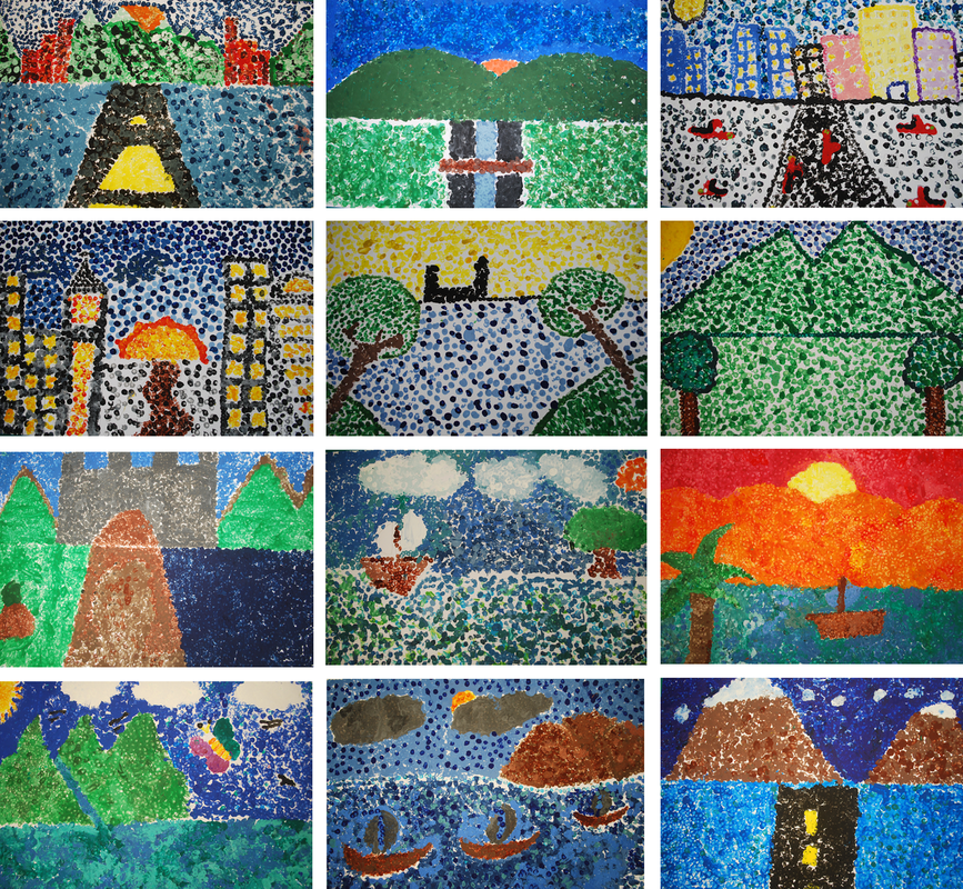 Pointilism Landscapes 3rd Grade Art Project