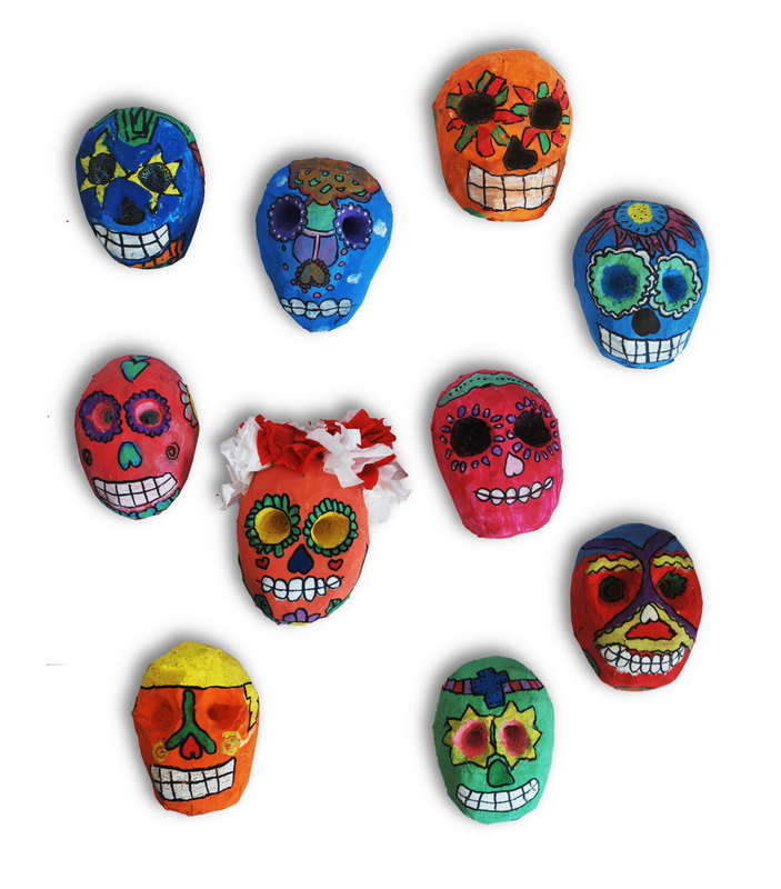 Paper Mache Day of the Dead Skulls 3rd Grade Art Project