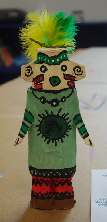 Re-purposed materials and paper mache Kachina Dolls