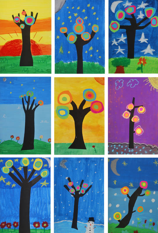 Kandinsky Trees 2nd Grade Art Project