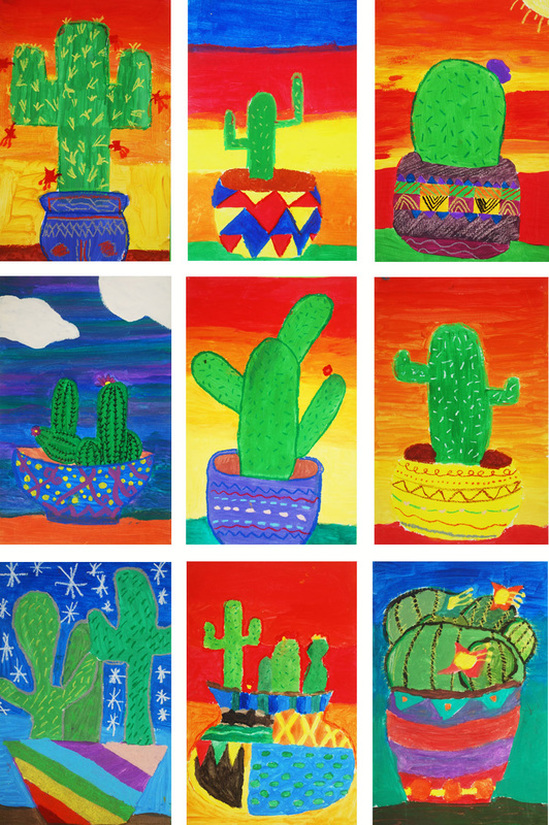 Mixed-Media Mexican Cacti 4th Grade Art Project