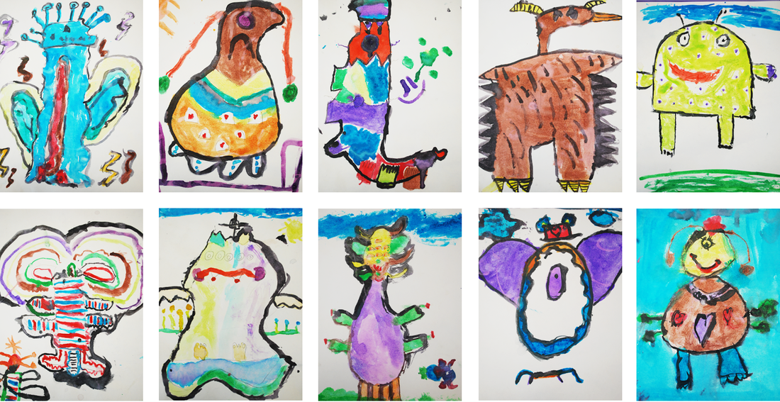 Watercolor Creatures 1st Grade Art Project