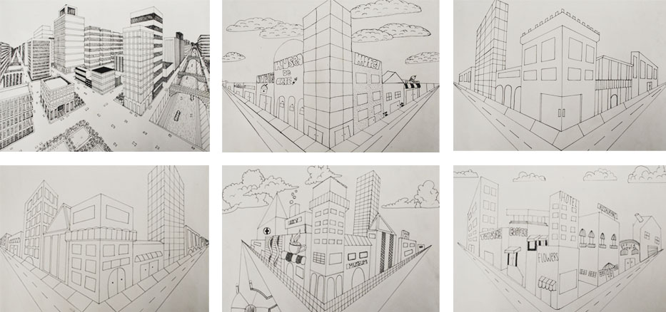 2 point perspective cityscapes 9th grade art project