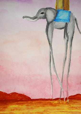 Watercolor and oil pastel Dali-inspired paintings
