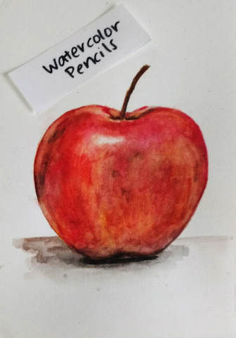 Apple watercolor pencil painting. Magicfly watercolor pencils on Cold Press 140 lb. Art-n-Fly watercolor paper.