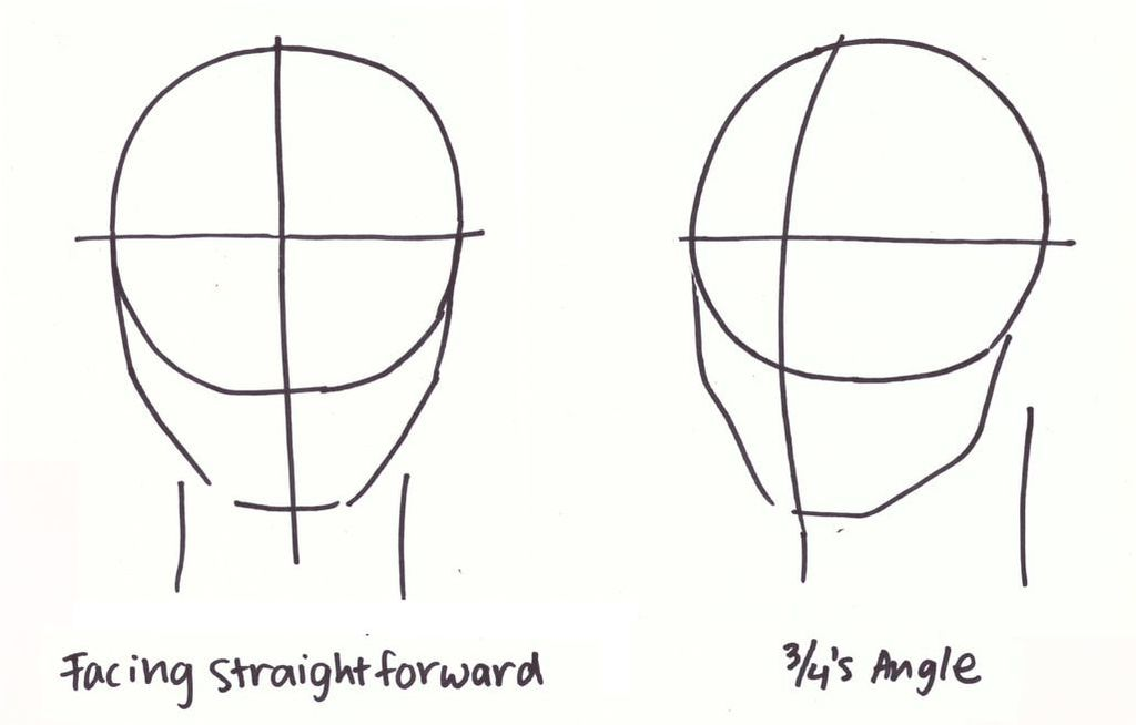 Simple map of a forward-facing head vs. head at 3/4's angle