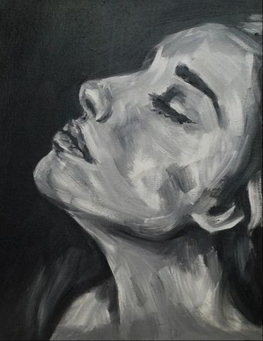 Grayscale oil portrait by Erika Lancaster