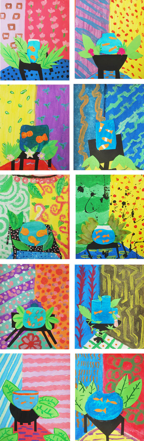 Matisse-Inspired Collages 6th Grade Art Project
