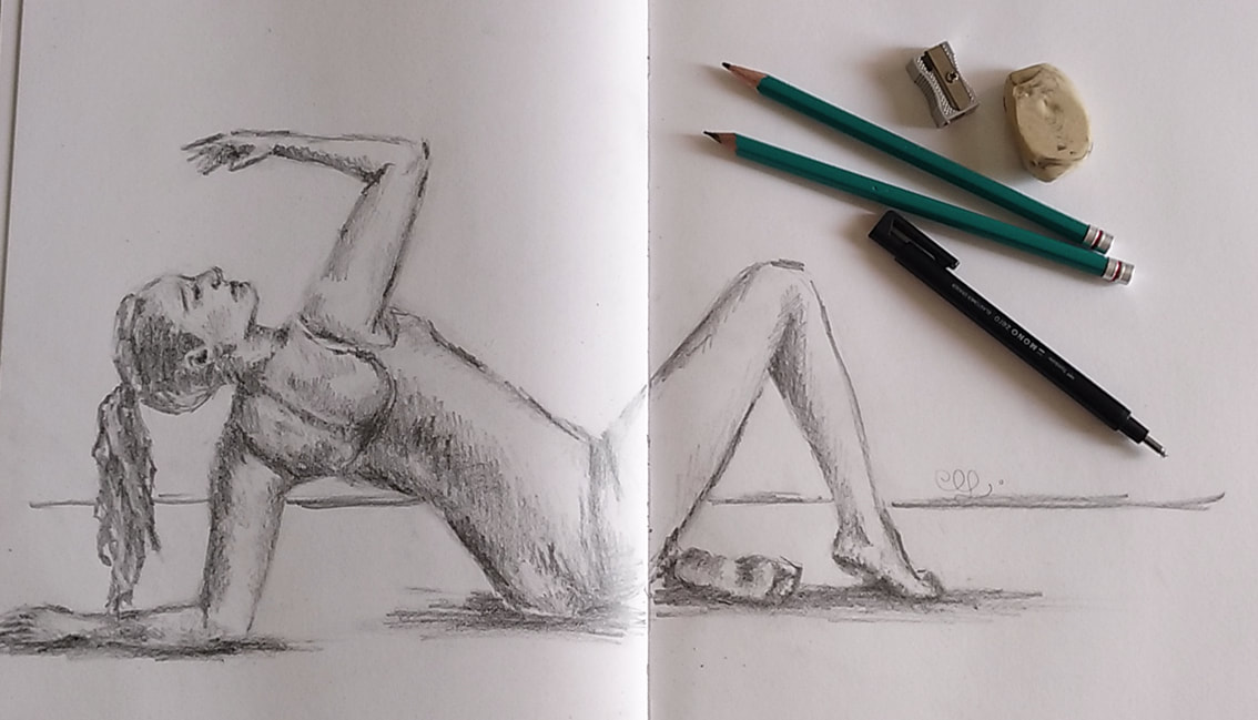 Female pose study 3. Pencil sketch by Erika Lancaster.
