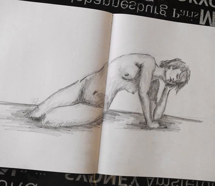 Sketch of female figure by Erika Lancaster