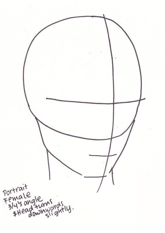 Female portrait at 3/4's head map. Free PDF at the end!