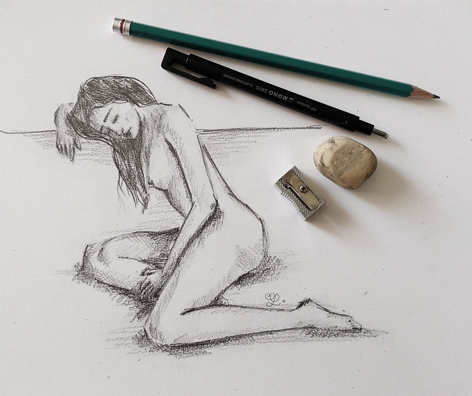 Female figure pencil sketch by Erika Lancaster