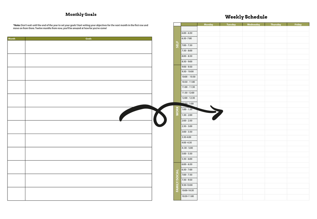 Monthly and weekly planning for artists