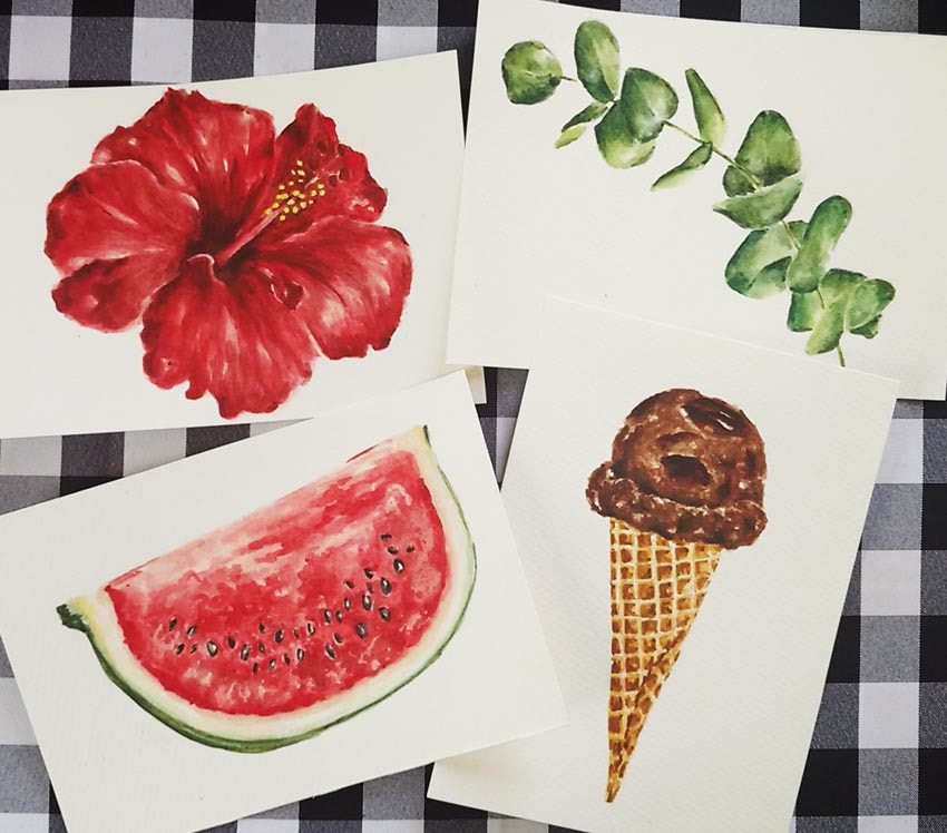 Watercolor illustrations of objects by Erika Lancaster