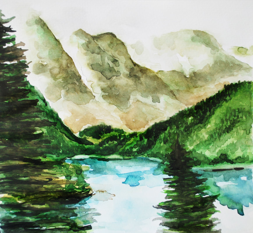 Watercolor Mountains and Lake Landscape. Sakura Koi 24 Pan Watercolor Set on Art-n-Fly Cold Press Watercolor Paper.