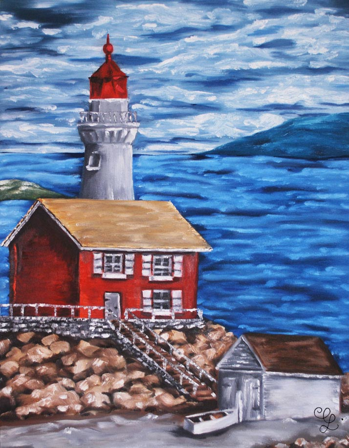 Lighthouse oil painting by Erika Lancaster