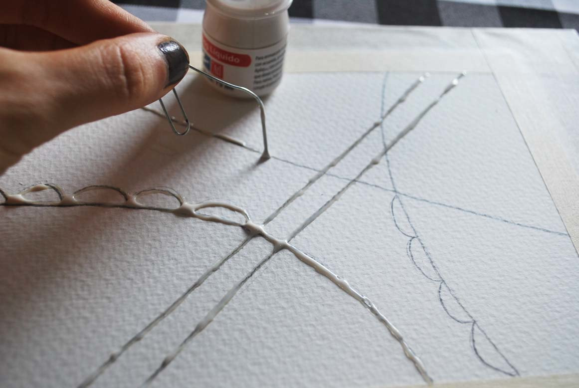 Placing masking fluid with a paper clip