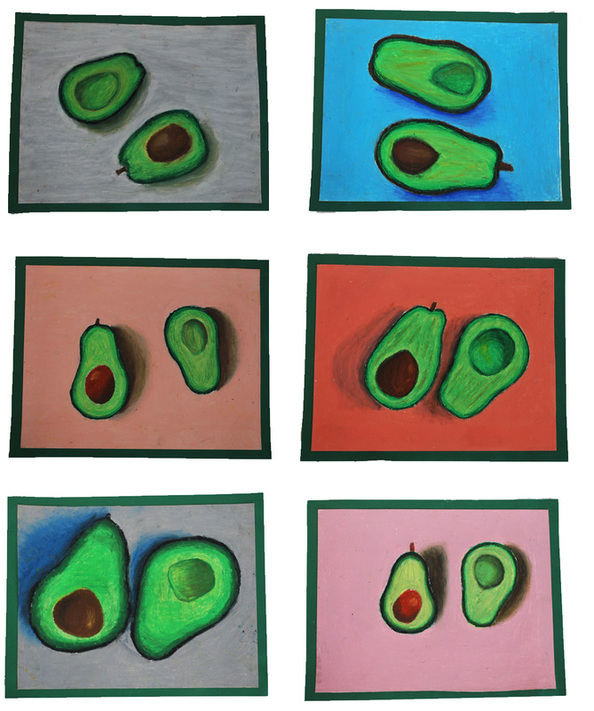 Oil Pastel Avocados 8th Grade Art Project