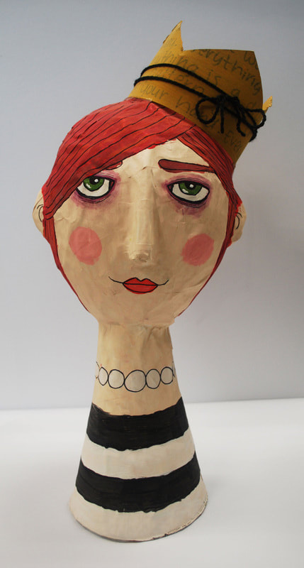 Paper mache head sculptures