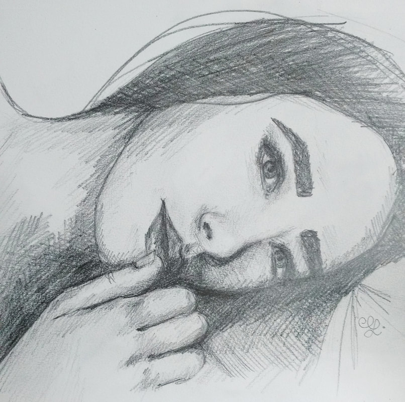 Female Portrait Laying Down. Castle Art Supplies Pencils, Pelican PVC Free Eraser and Canson Mixed-Media Sketchbook.