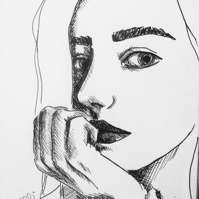 Drawing pen face sketch