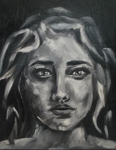 Grayscale oil portrait study by Erika Lancaster