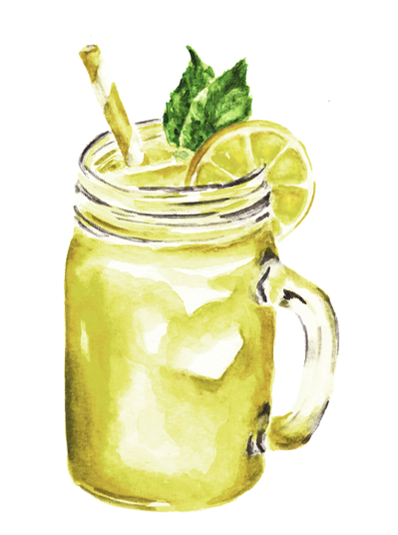 Lemonade in mason jar watercolor painting by Erika Lancaster