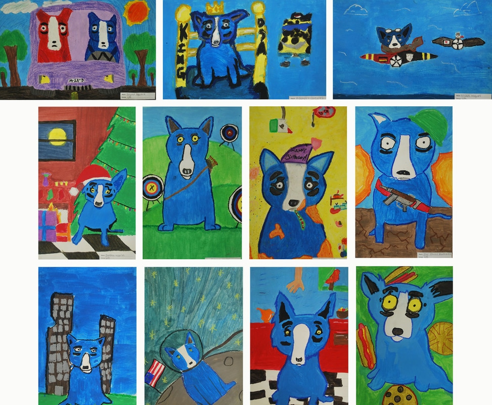 George Rodrigue-Inspired Blue Dogs 6th Grade Art Project