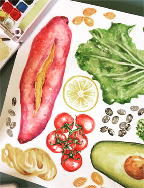 Watercolor Healthy Food