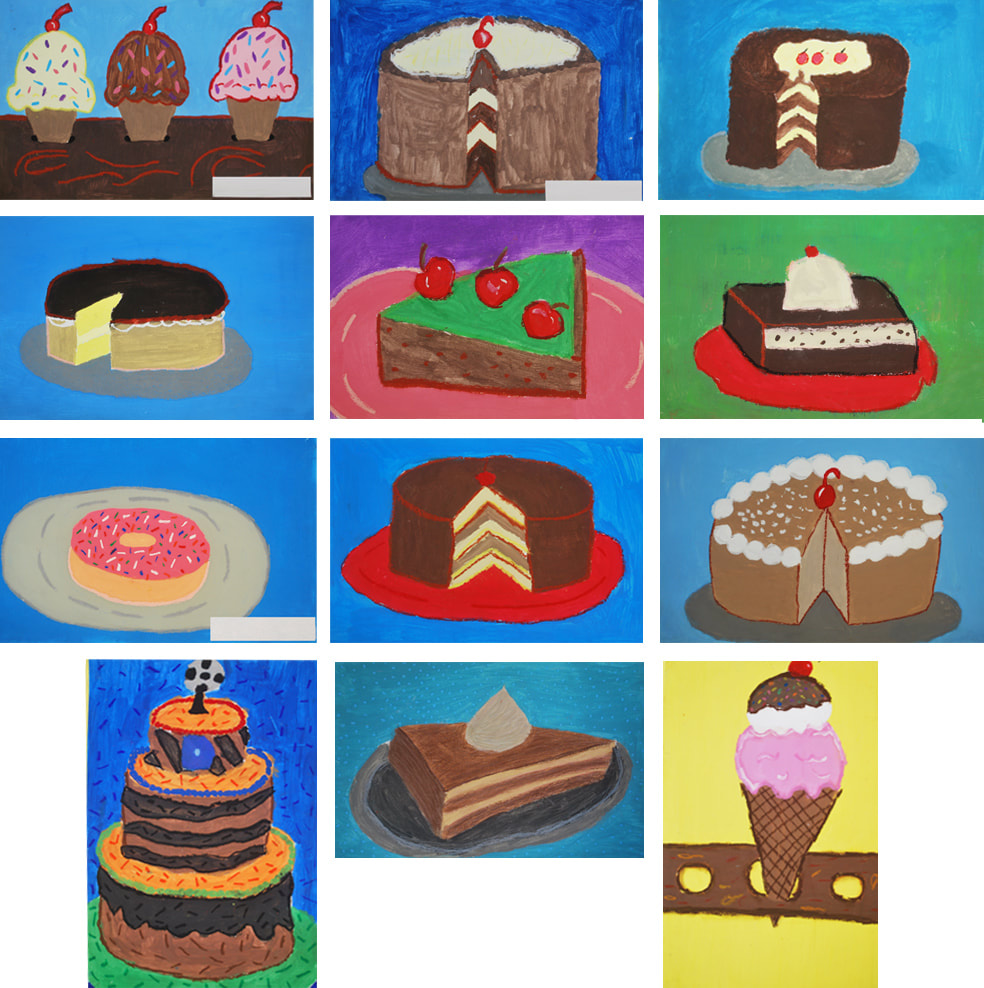 Wayne Thiebaud-Inspired Desserts 6th Grade Art Project