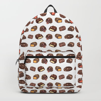 Watercolor Chocolate Truffles Pattern on Backpack
