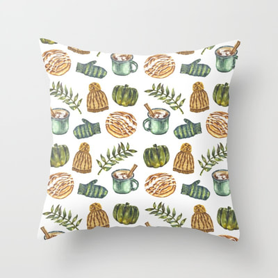 Watercolor Winter Objects Pattern on Pillow/Cushion