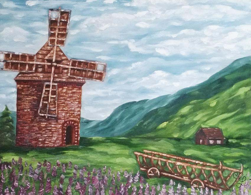 Windmill landscape oil painting by Erika Lancaster