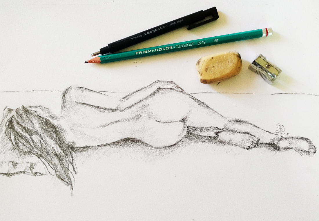 Pencil female figure study by Erika Lancaster