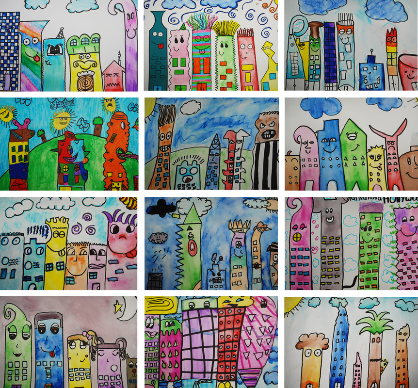 Crazy Marker and Water Cityscapes 4th Grade Art Project