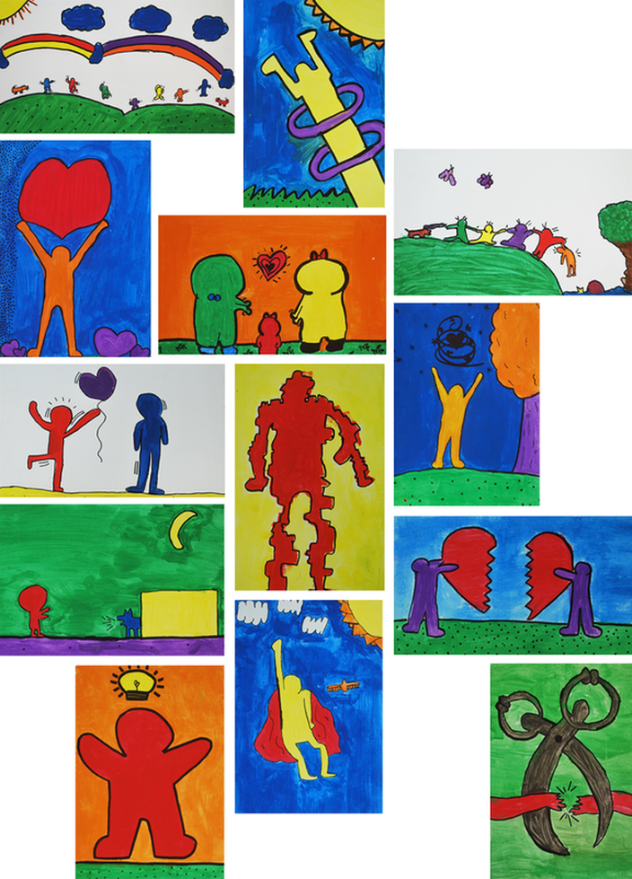 Keith Haring-Inspired Posters 4th Grade Art Project