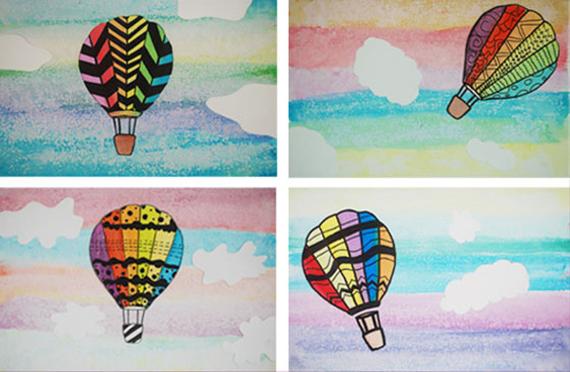 Watercolor and Salt Hot Air Balloons 5th Grade Art Project