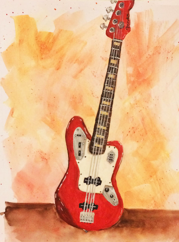Watercolor painting of a Fender bass by Erika Lancaster