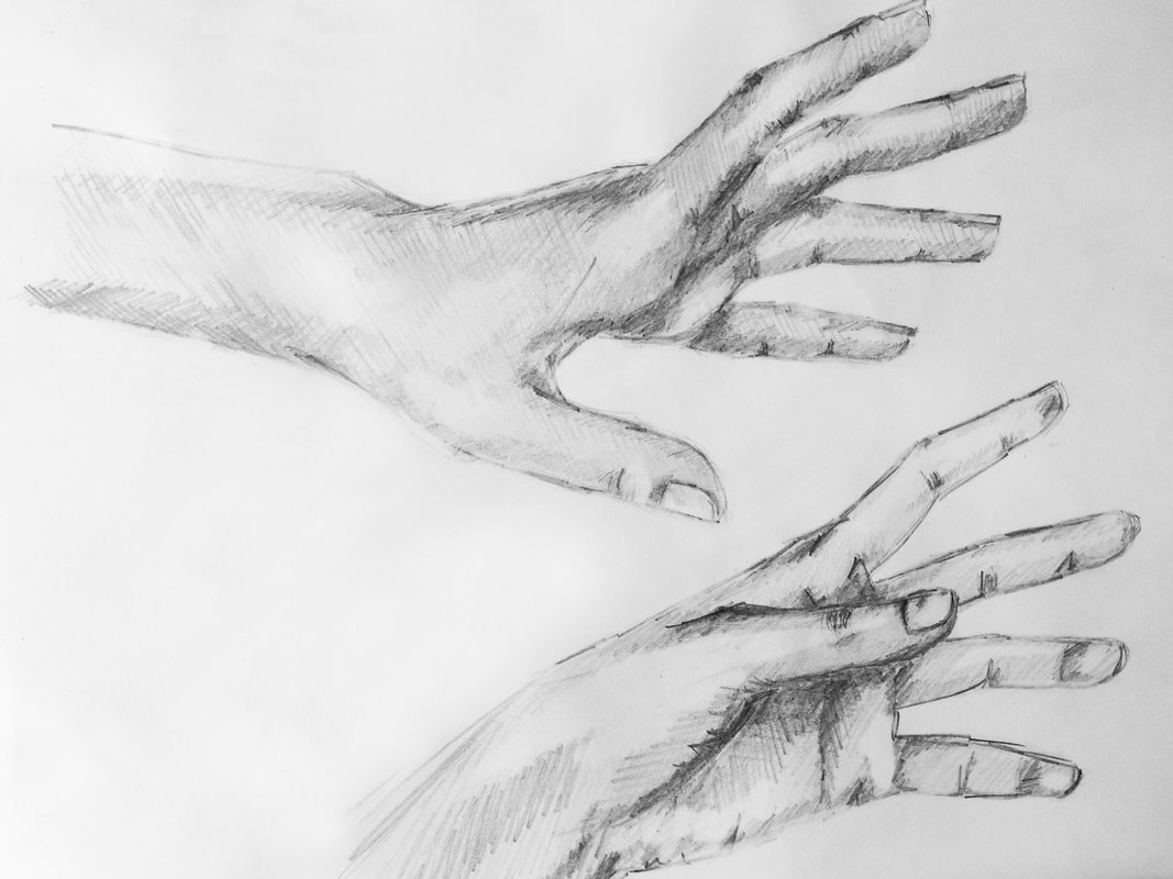 Hand pencil sketch by Erika Lancaster