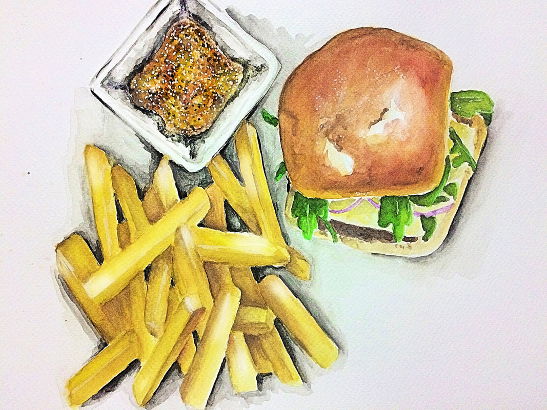Burger and fries watercolor painting by Erika Lancaster