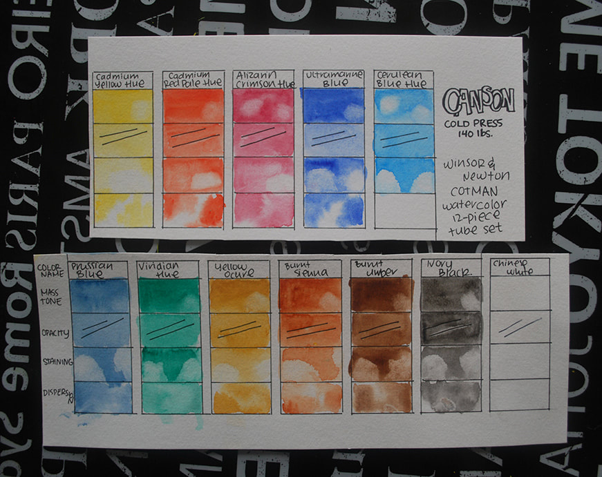 Watercolor swatches on Canson paper