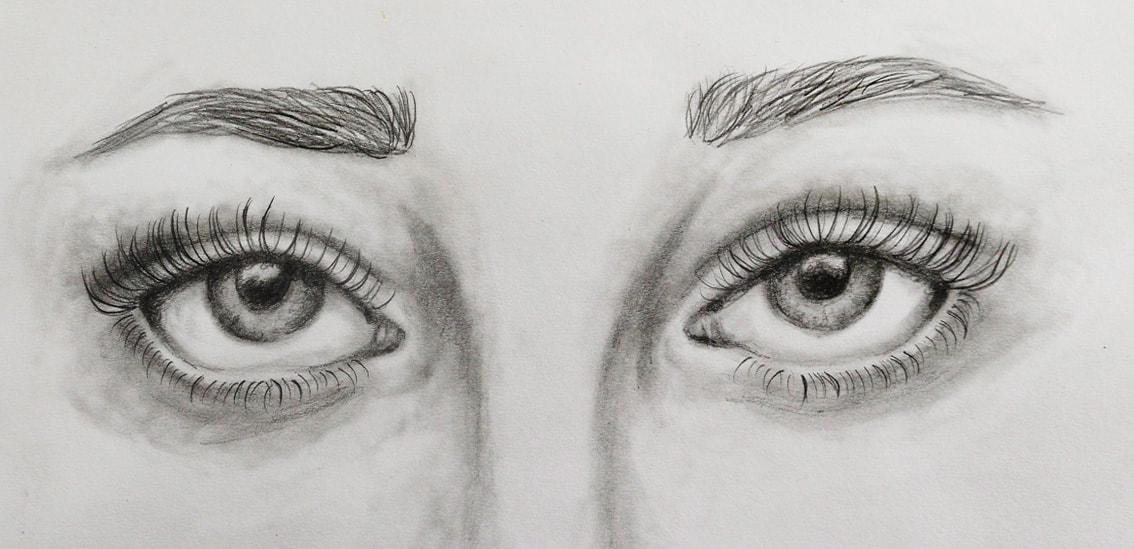Realistic eyes drawing with pencil. Sketchbook study by Erika Lancaster.