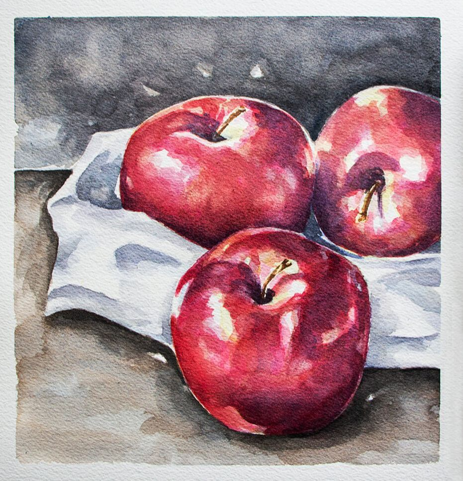 Watercolor Apples Still Life Painting by Erika Lancaster