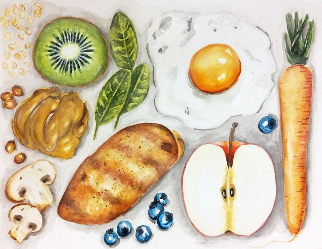 Watercolor healthy food painting by Erika Lancaster