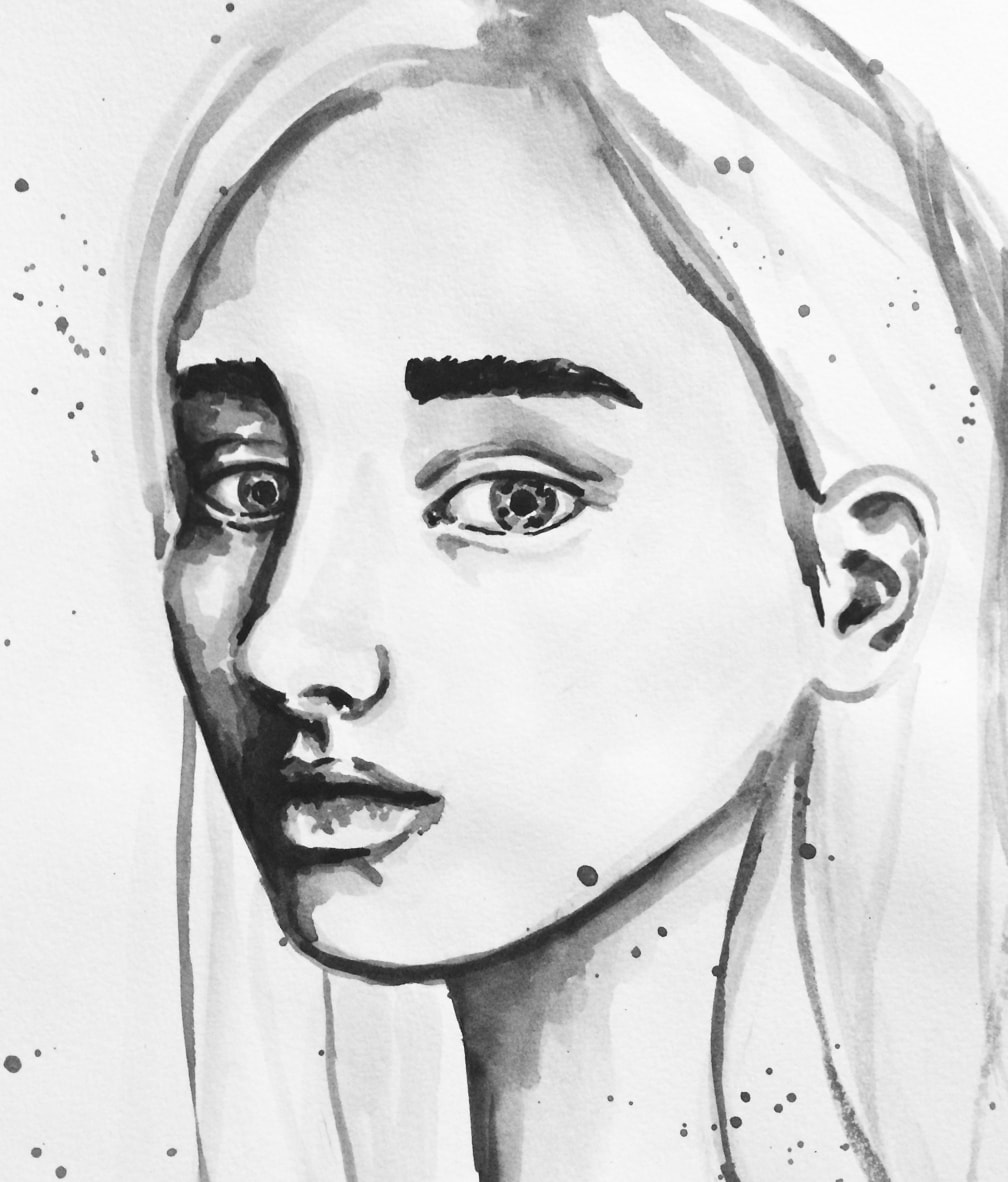 Watercolor face sketch in grayscale