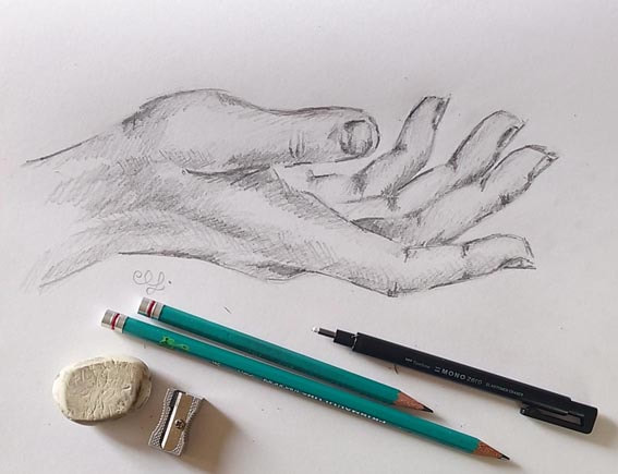 Outstretched hand sketch by Erika Lancaster